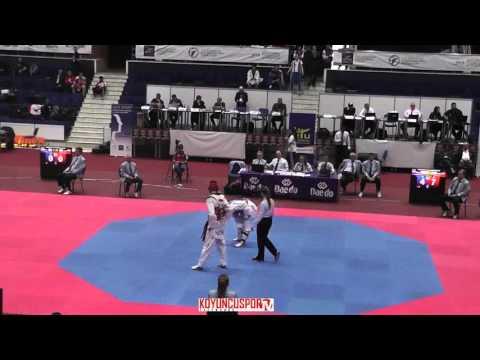 80kg Kirill KEEMALETDINOV (RUS) vs (NOR) ASP John (-21 European TKD Championships 2015) (видео)
