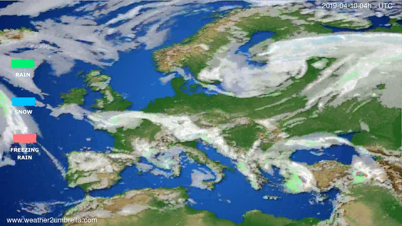 Precipitation forecast Europe // modelrun: 12h UTC 2019-04-08