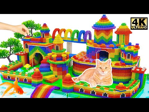 DIY - Build Mega Luxury Castle And Moat Around For Cat From Magnetic Balls   Magnet World Satisfying