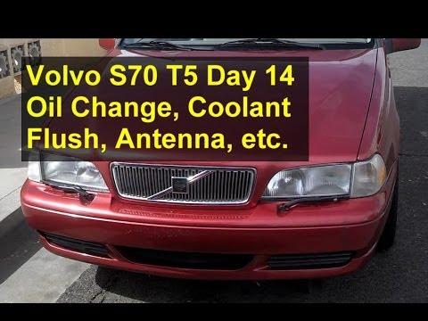 Volvo S70 T5 restoration day 14, oil change, coolant flush, antenna, etc. – Auto Repair Series