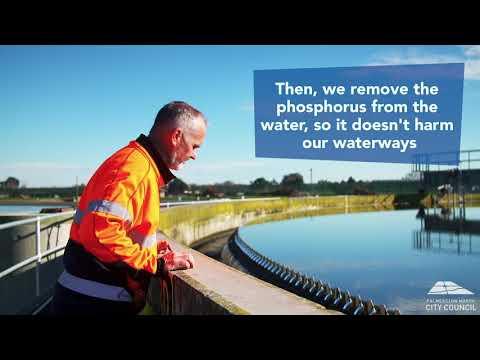 YouTube placeholder image shows man in hi-vis at the wastewater treatment ponds.