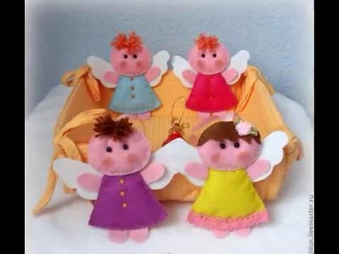 Игрушки ангелы из фетра делаем сами