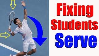 Tennis Serve Biomechanics - On Court Fixes With Student