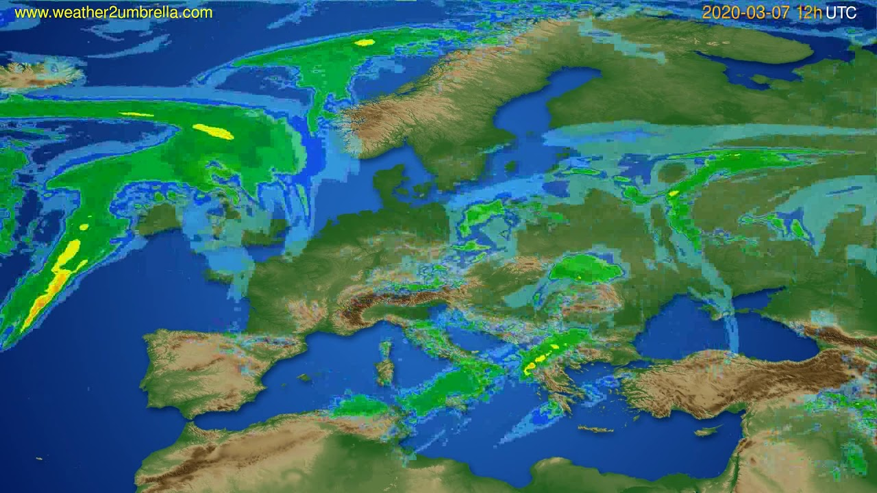 Radar forecast Europe // modelrun: 00h UTC 2020-03-07