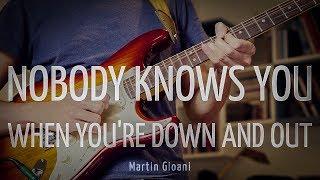"""Relevé (PDF) → https://www.guitare-improvisation.com/videos/releves_gratuits/Nobody_Knows/Nobody_Knows_releve.pdfRelevé (GP5) → https://www.guitare-improvisation.com/videos/releves_gratuits/Nobody_Knows/Nobody_Knows_releve.gp5Backtrack de """"Nobody knows you when you're down and out"""" gratuit : https://youtu.be/mxQPFQ48kKo?list=PLUExMPmFbP3ohwQSByFUJ71dW5d61rErCPour apprendre à improviser/accompagner sur un blues :- 3 Blues très faciles (60 min) : http://www.guitare-improvisation.com/video_3_blues_tres_faciles.php- Mon premier Blues (74 min) : http://www.guitare-improvisation.com/video_mon-premier-blues.php- Accompagner sur un blues (55 min) : http://www.guitare-improvisation.com/video_accompagner-sur-un-blues.phpIf this Blues Play-along helped you getting better please donate here : https://goo.gl/B9eXzkSi ce Backing Track de Blues vous a aidé à progresser pensez à soutenir mon travail en faisant un don ici : https://goo.gl/B9eXzk:::::::::::::::::::::::::::::::::::::::::::::::::::::::::::::::::::::::::::::::::::::Pour suivre les actualités du site (tutoriels, playbacks) abonnez-vous à cette chaîne Youtube et à la page Facebook : https://www.facebook.com/GuitareImprovisation"""