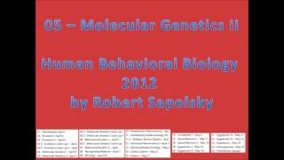 05 - Molecular Genetics II From Human Behavioral Biology 2012 By Robert Sapolsky