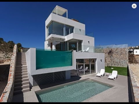 Ultra-modern villa in high-tech style, close to the tourist city of Benidorm