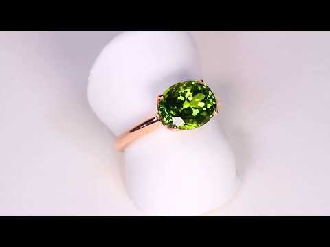 Peridot from Pakistan in 14 Karat Rose Gold Ring