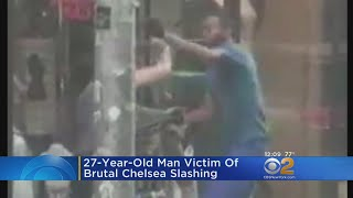 A 27-year-old man was slashed in the face at 29th Street and 7th Avenue by an assailant in the blue shirt who emerged from between two parked cars. CBS2's ...