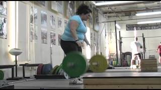 Daily Training 4-22-13 - Weightlifting training footage of Catalyst weightlifters. Tamara power snatch, Jessica snatch pull + hang snatch, Brian power cle