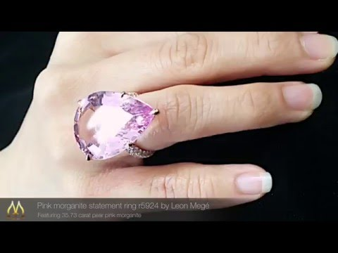 Pink morganite statement ring r5924 by Leon Megé