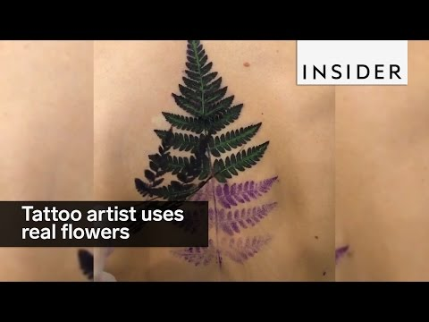 Tattoo artist uses real flowers to tattoo her clients