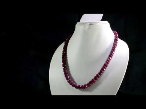 Natural Blood Red Ruby 417ct Big Size Faceted Beaded Gemstone String Necklace