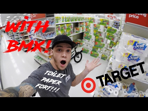 TOILET PAPER FORT IN TARGET! *SMASHED WITH BMX* (видео)