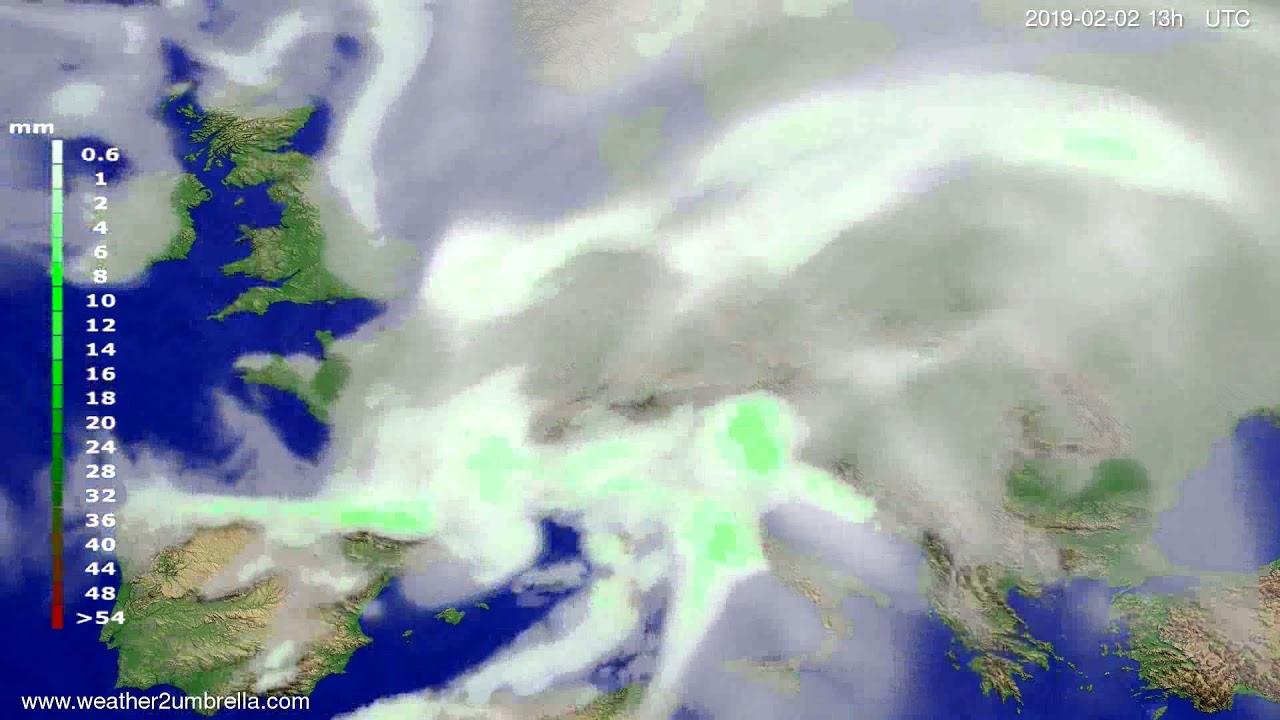 Precipitation forecast Europe 2019-02-02