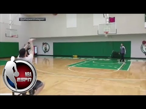 Video: Gordon Hayward drains long-range shot from a chair | NBA on ESPN
