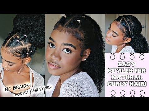SUPER EASY Hairstyles for Natural Curly Hair PT.2 (For Awkward Length,Transitioning, ALL Hair Types)