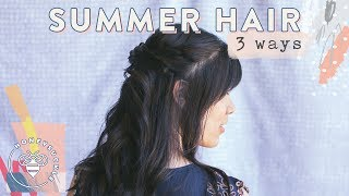 #BuzyBeez I have a new kind of video for you today...my Sister, Tram and I are sharing 3 Summer Hair inspirations for the Beach, Weddings, or Everyday Looks! Almost got my arm cut off making this vid 😜SUBSCRIBE: https://www.youtube.com/user/honeysucklecatering?sub_confirmation=1Summer's in the Hair by Bumble&Bumble: http://shopstyle.it/l/crzXHoneysuckle Logo by Karli Ingersoll: http://karliingersoll.com/Honeysuckle Bee logo by Spruce Rd: http://www.sprucerd.com/Graphics by Dawn Lee Design: http://www.dawnleedesign.com/Music by Lullatone: https://www.youtube.com/user/lullashawnMaking things Fun, Pretty, and Delicious! Honeysuckle is a lifestyle channel for young adult women interested in entertaining and cooking at home.INSTAGRAM Follow me: instagram.com/honeysucklebeezBLOG: http://www.honeysucklecatering.com/© 2017 Honeysuckle Catering. All Rights Reserved.