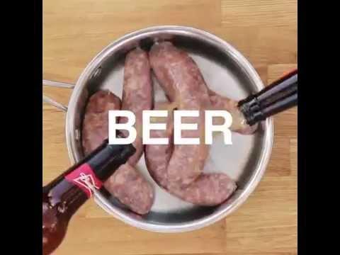 Suxhuk në skarë, të zier në birrë (video)