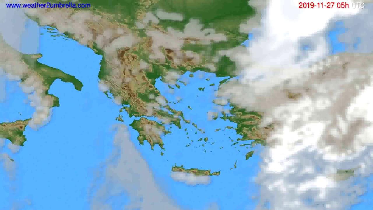 Cloud forecast Greece // modelrun: 12h UTC 2019-11-25