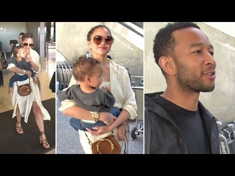 John Legend Predicts 'Mayweather Is Going To Win' Arriving At LAX With Chrissy Teigen And Baby Luna
