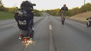 7. Suzuki Hayabusa Motorcycle Stunts On Highway Wheelie + Drifts Busa GSXR 1300 Drifting Wheelies 2016