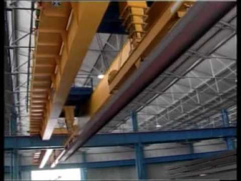 Lifting Magnet lifts and manipulates steel profiles.