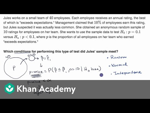 Conditions For A Z Test About A Proportion Video Khan