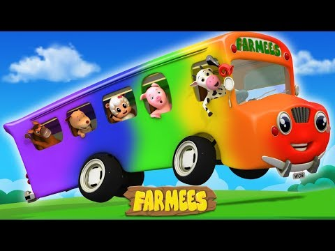 Wheels on the Bus Cartoon Nursery Rhymes for Kids | Baby Song | Music for Children by Farmees