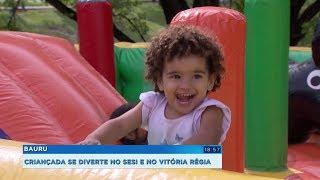 Crianças comemoram o dia delas com brincadeiras no Sesi e no Parque Vitória Régia
