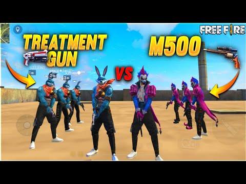 TREATMENT GUN vs M500 FACTORY CHALLENGE 😂  4 VS 4 WHO WILL WIN ?  #ajjubhai #factoryfreefire A_S