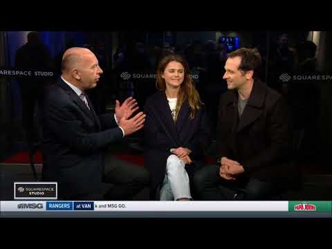 Keri Russell and Matthew Rhys Interview at NY Rangers Game- Feb 25th, 2018