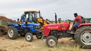 Tractors vs JCB 3DX | Sonalika DI-47 RX | Mahindra 585 DI and Arjun 555 | John Deere 5050 D tractor