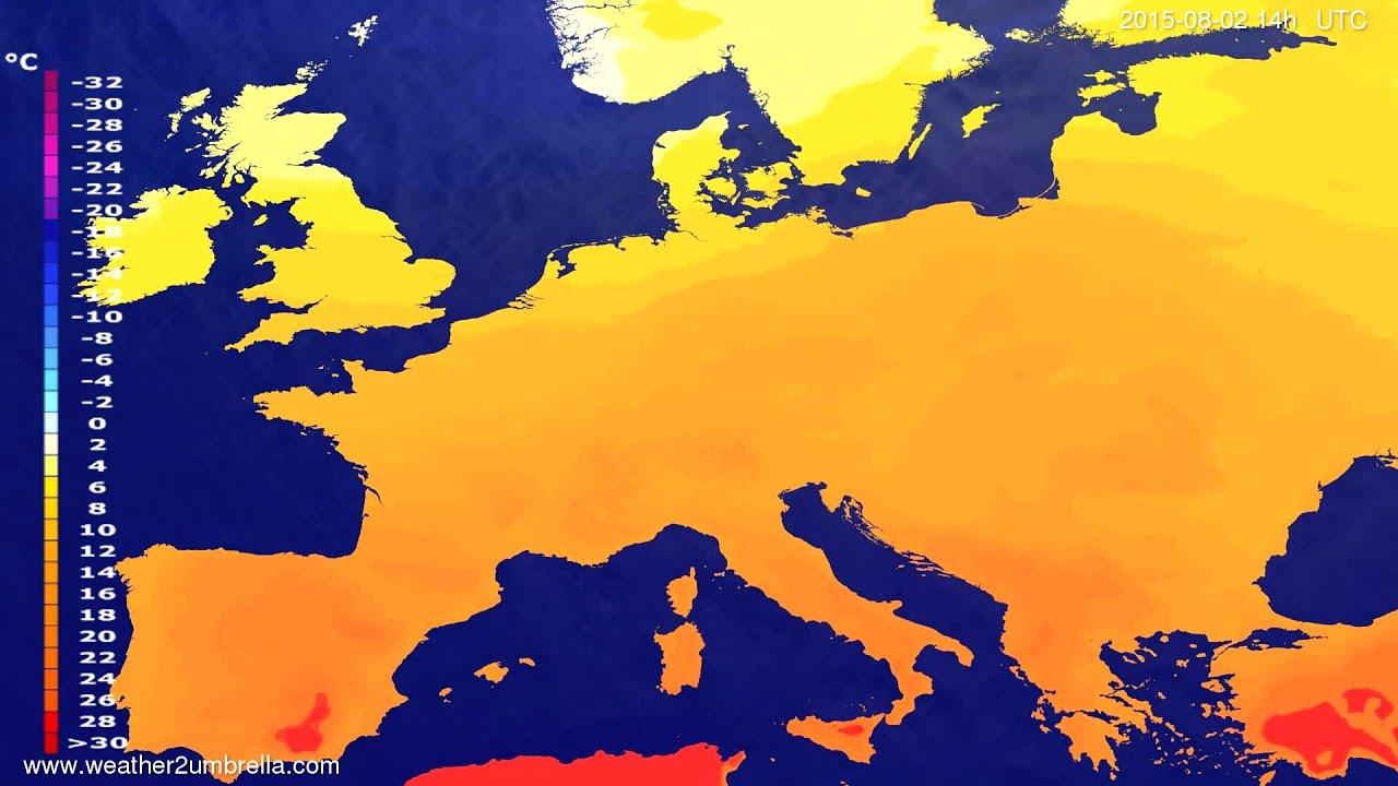 Temperature forecast Europe 2015-07-30