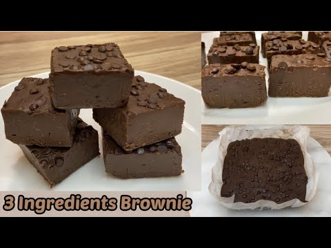 3 Ingredients Brownie In 20 minutes - No Bake Chewy Brownie