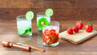 Caipirinha mit Kiwi und Erdbeeren