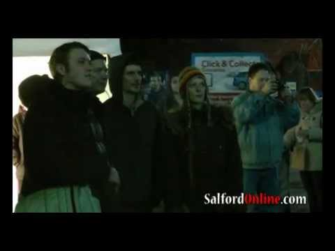 salfordonline - Salford University, Salix Homes and TIETARA light show Thursday 15 December 2011 filmed by Salfordonline.