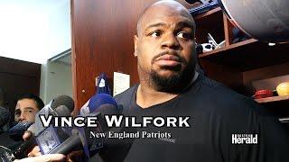 N. E. Patriots Prepare for Cincinnati Bengals. Gronkowski , Wilfork , Revis talk in locker room.