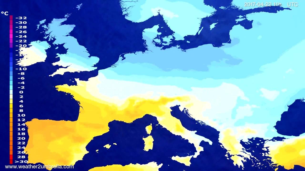 Temperature forecast Europe 2017-04-18