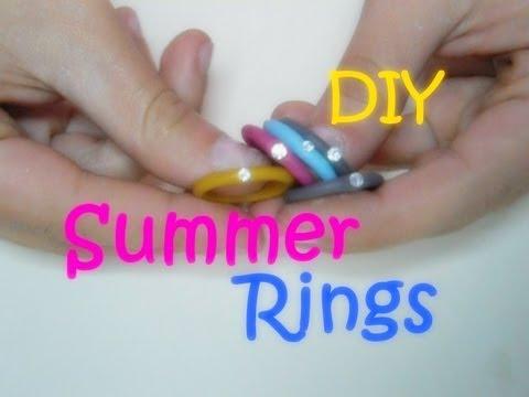 anelli con strass realizzati in fimo