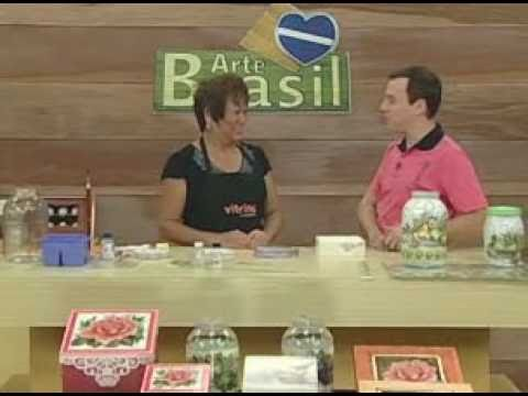ARTE BRASIL -- MAMIKO YAMASHITA -- DÉCOUPAGE E CRAQUELÊ EM VIDRO (15/03/2011 - Parte 1 de 2)