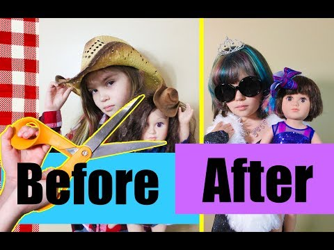 Hair cutting - My Doll and ME's 2ND HAIR CUT at SALON + We so got Bangs and Dyed MY hair ! Extreme Makeover Vlog