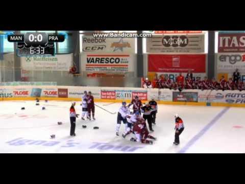 Video : Hromadná bitka v přátelském utkání HC Sparta Praha vs Adler Manheim