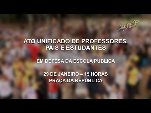 Ato Unificado de Professores, Pais e Estudantes - 29 de Janeiro - 15h - Praça da República