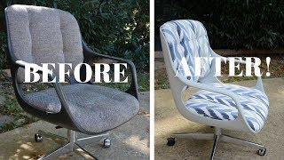 Vintage Chromcraft Office Chair Makeover (PART 2): Furniture Makeover - Thrift Diving