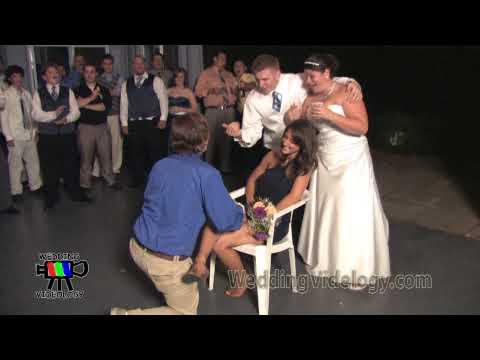 brides maid gets garter high