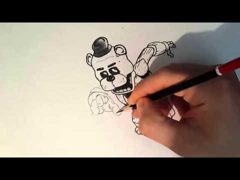Как нарисовать мишку Фредди поэтапно 5 ночей How to Draw F