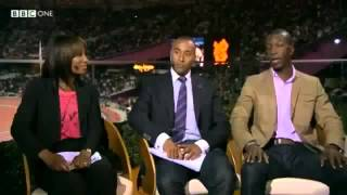 Usain Bolt Hilarious Collin Jacksons And Michael Johnsons Reaction