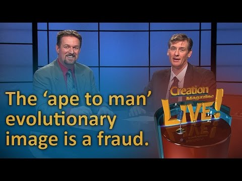 The 'ape to man' evolutionary image is a fraud. (Creation Magazine LIVE! 6-10)