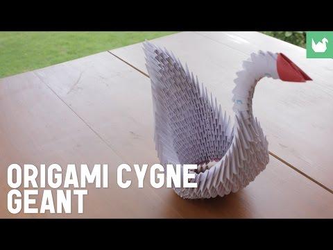 Origami cygne g ant en papier hd - Comment faire une rose en papier facile ...